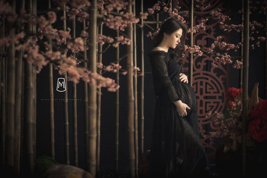孕婦寫真,女攝影師,孕期,花牆,禮服
